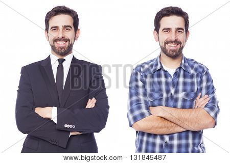 Same man dressed as casual man and business man, isolated on white background