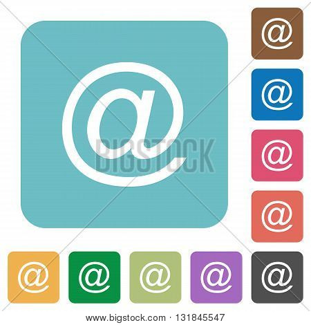 Flat email symbol icons on rounded square color backgrounds.
