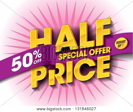 Half Price Sale concept with label banner. sale layout design. Vector illustration