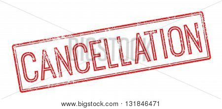 Cancellation Red Rubber Stamp On White