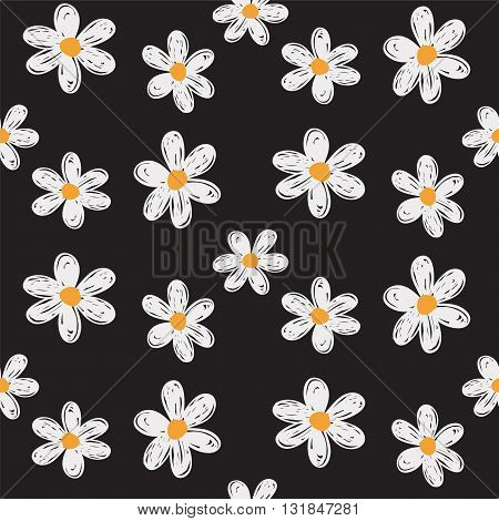 Hand drawn flowers, seamless vector daisy pattern.