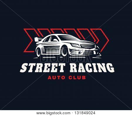 Sport car logo illustration on dark background.
