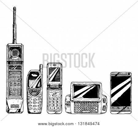 Mobile phone evolution set. Vector illustration in ink hand drawn style. Mobile phone form factor: brick phone bar phone flip phone wide slider phone touchscreen smartphone.