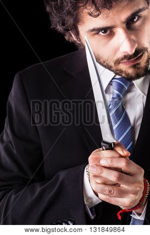 Psycho Businessman With Kitchen Knife