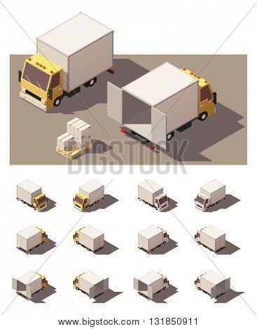 Vector Isometric icon set or infographic element representing box truck or cube truck with open and closed doors. Every truck in four views with different shadows. Low poly style