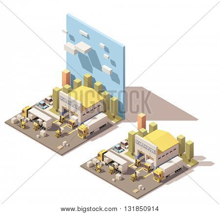 Vector Isometric icon set or infographic element representing warehouse, warehouse yard, truck with semi trailer, box truck and forklifts loading pallets with cardboard boxes. Low poly style