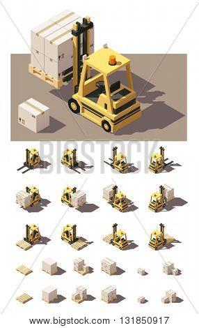 Vector Isometric icon set or infographic element representing forklift loading pallets with boxes. Forklift in four views with different shadows. Low poly style