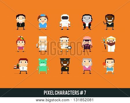 Set of pixel art characters with different gender skin color occupation and posture