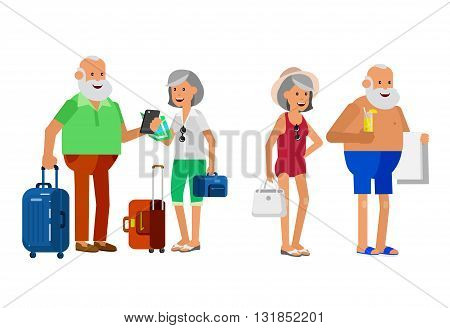 Character senior, senior age travelers. Old age retired tourists couple. Elderly couple senior having summer vacation. Old tourists with map and gadget, senior in swimsuits go on beach. Active