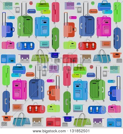 Travel bags in various colors. Travel bags in various colors. Luggage suitcase and Travel  bag isolated on white background. Vector travel bags. Illustration bag illustration pattern