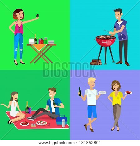 Vector character people on picnic or Bbq party. Food and barbeque, summer and grill. Vector barbeque party, illustration barbeque party. Chef men cooking steaks on grill. Banner set
