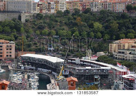 La Condamine Monaco - May 28 2016: Many Spectators in the Tribunes and People on Yachts For the Monaco Formula 1 Grand Prix 2016