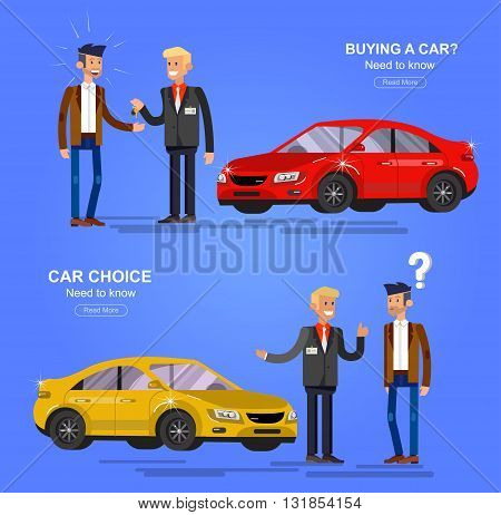 design concept of choice car and buying a car. Vector car, car cool flat, car  illustration. Vector detailed character buyer and seller, cool flat  illustration. Web banner template