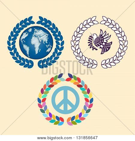 Laural leaves with globe peace sign and peace bird