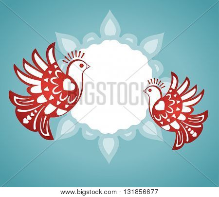 love birds with plaque banner for your input