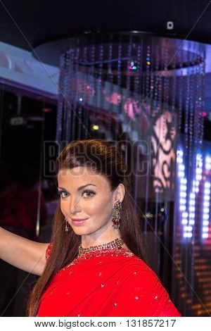 LONDON UK - JUNE 7 2015: Aishwarya Rai Bachchan Bollywood actress in Madame Tussaud museum. It is one of major tourist attraction.