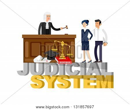 Law horizontal banner set with judical system elements and Law Vector detailed character the judge and the lawyer, Law cool flat  illustration, Law vector