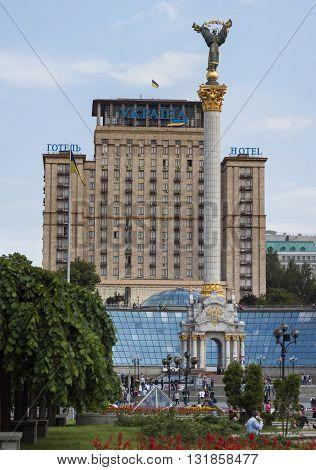Kyiv Ukraine - May 20 2016: Maidan Nezalezhnosti (Independence square) with Statue of Independence Kyiv Ukraine.