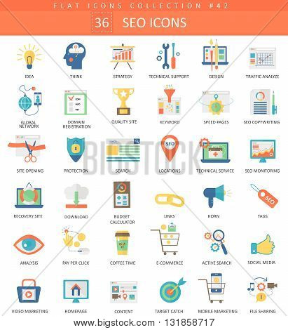 Vector SEO and development color flat icon set. Elegant style design