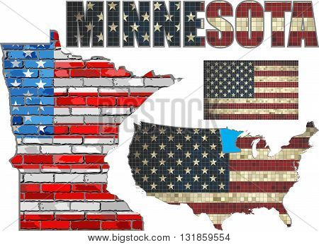 USA state of Minnesota on a brick wall - Illustration, The flag of the state of Minnesota on brick textured background,  Minnesota Flag painted on brick wall, Font with the United States flag,  Minnesota map on a brick wall