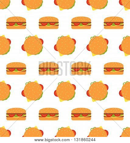 Illustration Seamless Texture with Hamburgers. Fast Food Pattern - Vector