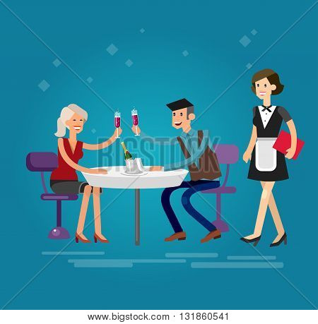 Vector detailed character people in the restaurant, service for public and personnel, couple celebrating in restaurant, restaurant waiter serves guests. Vector restaurant illustration