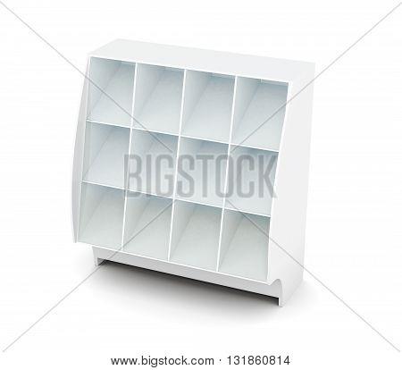 Display with shelves isolated on white background. Supermarket showcase. Glassed showcase. 3d render image