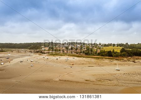 Panorama of Brittany Bretagne coastline at low tide France