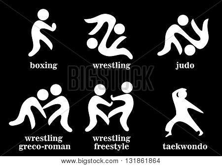 Boxing Wrestling Greco Roman Freestyle Taekwondo Judo Sport Icons