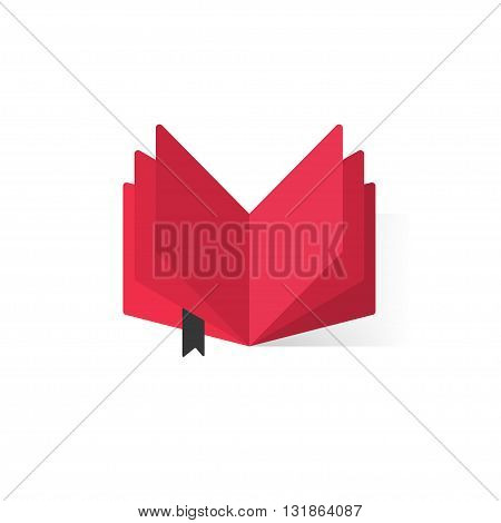 Red open book with abstract pages, black bookmark vector logo, concept of book library flat icon, book store symbol, learning, booklet, e-book illustration modern design isolated on white background