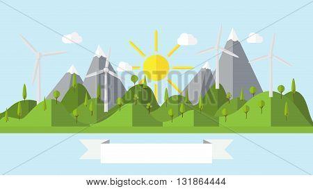 Flat vector ecology landscape island illustration with wind power plant coast scenery background