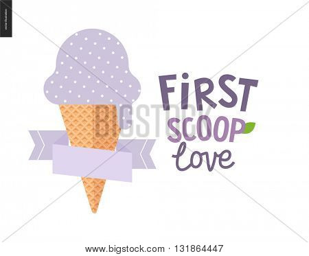 First scoop love - the vector flat cartoon illustration of lilac light violet bilberry scoop of ice cream in a waffle cup with a flat stilized ribbon and a composed lettering aside