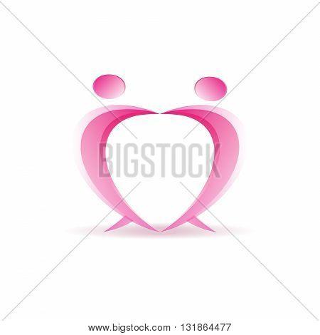 People dancing healthcare symbol heart shape vector logo icon design
