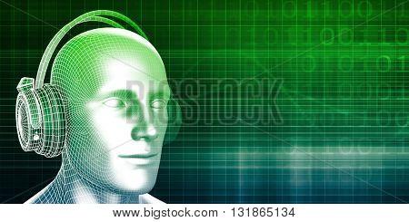 Sound Bites or Bytes with Man on Equalizer Background 3D Illustration Render