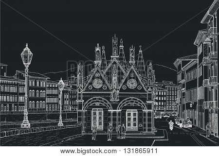 Sketch of the Church of Santa Maria della Spina in Pisa. Painted with chalk on black