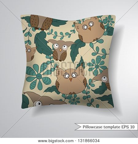 Decorative pillowcase design template. Pattern with cute owls and leaves. Vector illustration. Creative sofa pillow.