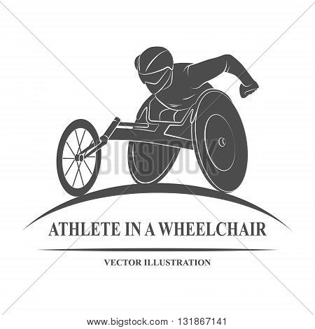 Icon athlete on wheelchair racing. Paralympic Games. Vector illustration.