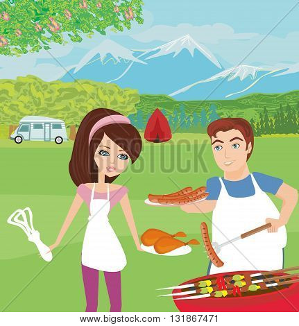 couple outdoor grilling meat on picnic , vector illustration