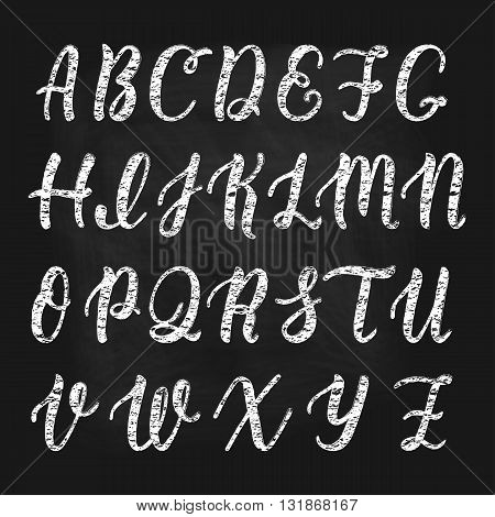 Chalk hand drawn latin calligraphy brush script of capital letters. Calligraphic alphabet. Vector illustration