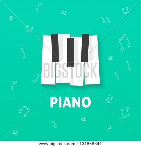 Piano keys vector flat logo, piano play emblem, piano keyboard, concert poster concept, piano sheet cover, music lesson symbol modern illustration design isolated on green notes background