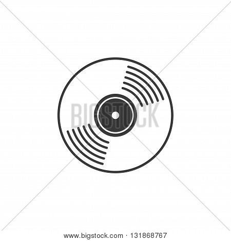 Vinyl record vector icon compact CD disk DVD disc gramophone record symbol rotating record disc flat vinyl lp cartoon vinyl record label cover emblem modern simple illustration design isolated