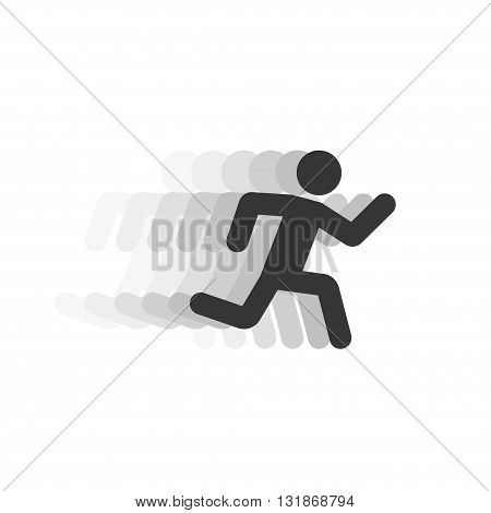 Black running man illustration with motion blur trackabstract running person silhouette symbol modern simple sprinter trail shape flat icon design isolated on white sign image