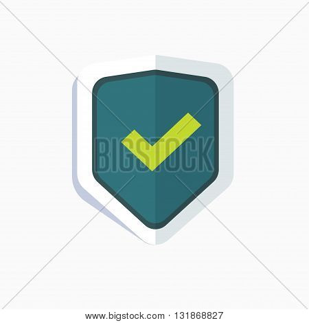 Shield vector icon blue shield with green check mark symbol concept security sign protection sign protect emblem flat shield logo design illustration isolated on white