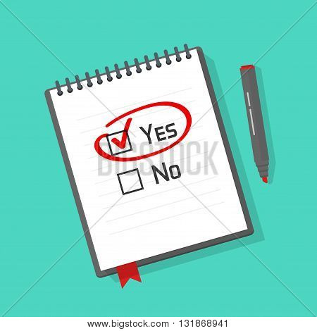 Yes no checked with red marker line yes selected with red tick and circled concept of motivation voting test positive answer poll selection choice modern vector illustration design on white