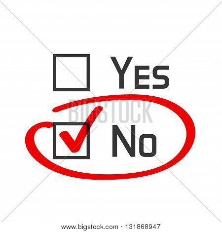 No checked with red marker line no selected with red tick and circled yes no concept of motivation voting test negative answer poll selection choice modern vector illustration design on white