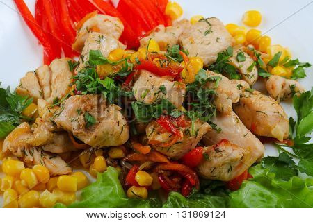 Roasted Chicken With Corn