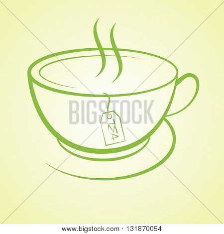 hot tea cup beverage drink icon vector illustration 10eps background