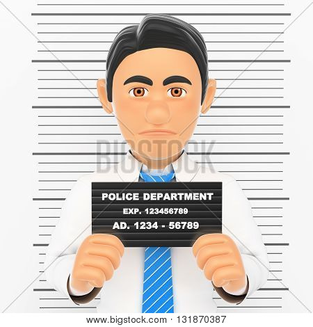 3d business people illustration. Businessman arrested. White collar criminal police photo. White background.
