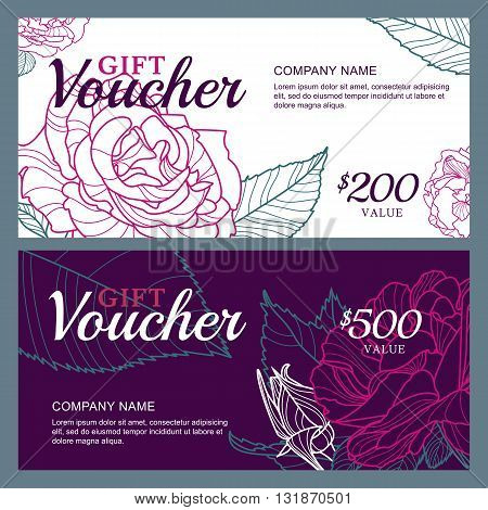 Vector Gift Voucher Template With Pink Roses Flowers. Business Floral Card Template. Roses Backgroun