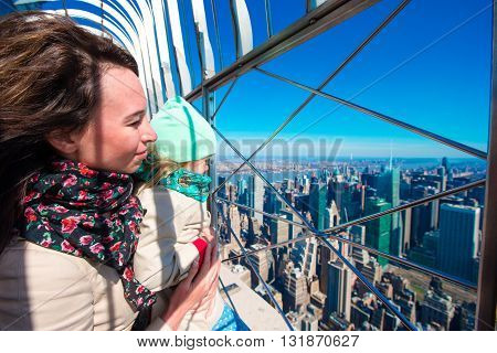 Beautiful New York City skyline with urban skyscrapers